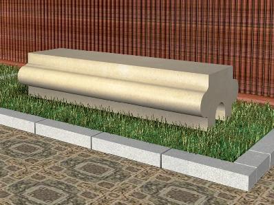 Recreación de banco modelo Goñi en piedra Arenisca de Uncastillo