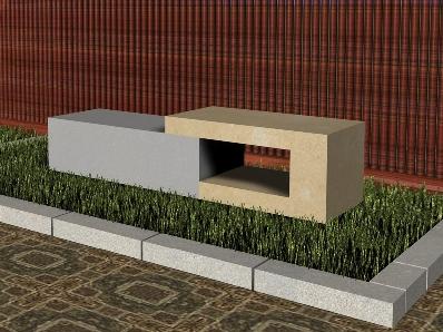 Recreación de banco modelo Jordan realizado en piedra Arenisca de Uncastillo y Azul Pirineo