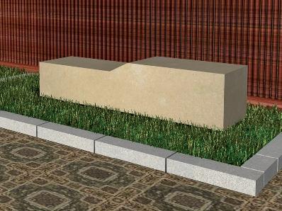 Recreación de banco modelo Uncastillo en piedra Arenisca de Uncastillo