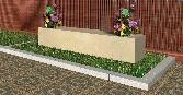 Recreación de combinación de banco y 2 jardineras modelo Roma en piedra Arenisca de Uncastillo